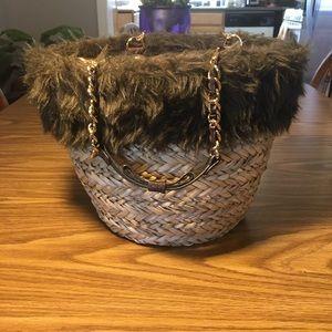 Samantha Thavasa Bags - Samantha Thavasa Straw with Fur Handbag